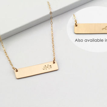 Personalized Monogram Necklace, 3 Initial Monogrammed Bar Necklace, Mother's Necklace, Bridesmaid, Layering Necklace Gift For Her, Birthday