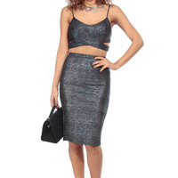 Royal Sparkles Midi Body Con Skirt