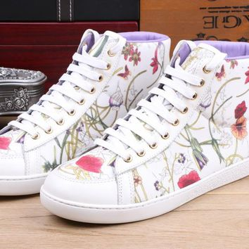 Gucci Women's Leather Fashion Casual High Top Sneakers Shoes