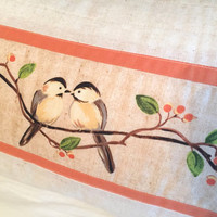 Chickadee Pillow Cover - Bolster Pillow Cover, Woodland Animal Pillow, Quilted Pillow