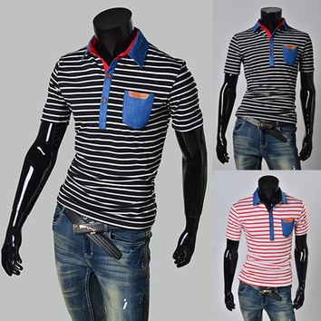 Color Stripe Polo Shirt