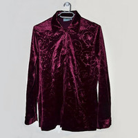 Vintage Velvet Shirt Womens Button Up Blouse Burgundy Wine Red Maroon Bordeaux Top  Medium Large M L