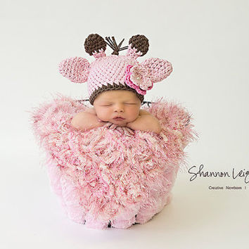 original seller,giraffe hat, pink giraffe hat, animal hat, pink animal hat, hat with ears, giraffe, baby hat, newborn hat,