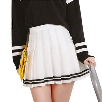 Ladies high waist ball pleated skirts Harajuku Mori girls stripe a-line sailor Summer skirt Cosplay Japanese school uniform