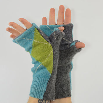 Fingerless Mittens in Turquoise Blue and Lime Green Argyle - Recycled Wool - Fleece Lined