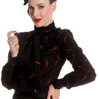 Goth Dark Beauty Night Falling Feather Bow Tie Neck Black Blouse Top