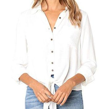 CILKOO Womens Solid Tie Front Pockets 34 Sleeve Button Down Shirts Blouse TopsSXXL