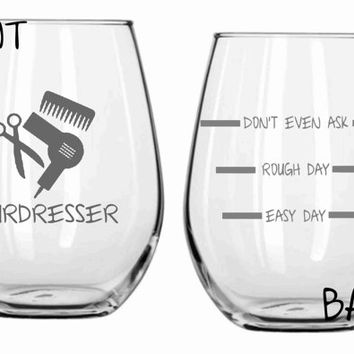 Etched Hairdresser Glass  FUNNY Choose From Wine Glass, Stemless Wine, Beer Mug, Pub Glass, Pilsner, Rocks, Coffee FREE Personalizat