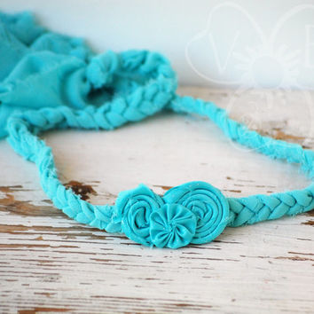Baby Blue chiffon infant tie back halo crown photo prop hair accessory RTS