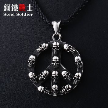 Steel soldier punk big round cycle skull pendant Ppeace symbol men necklace stainless steel vintage jewelry as creative gift