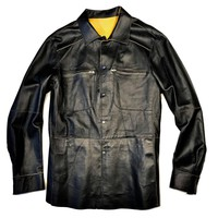 Jose Luis Black Lambskin Snap Button Up Shirt