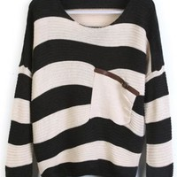 Black Stripes Loose Sweater with Pocket - Sheinside.com