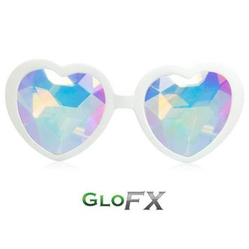 Heart Shaped Kaleidoscope Glasses - White