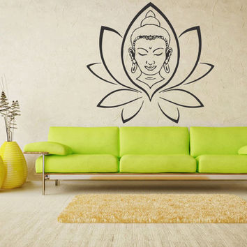 Wall decal art decor decals sticker hands Buddhism India Indian circle namaste Buddha OM Yoga success god lord (m70)