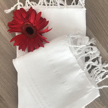 Set of 2 Turkish Hand Towel, Head Towel (Peshkir), Tea Towel, Baby towel, Wedding gift, Mother days gift,  kitchen towel, garden towel White
