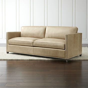 Dryden Leather Queen Sleeper Sofa with Nailheads and Air Mattress