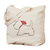 CUTE WESTIE DOG ART TOTE BAG