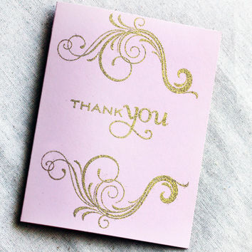 Blush and Gold Thank You Card Set of 5, Blush & Gold Wedding Cards, Pink and Gold thank you notes, pink and glitter gold cards, Glitter card