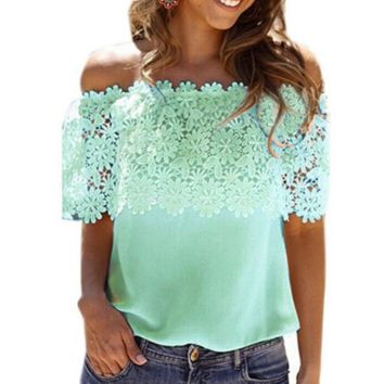 Fashion New Summer Splice Lace Top Women Mint Green