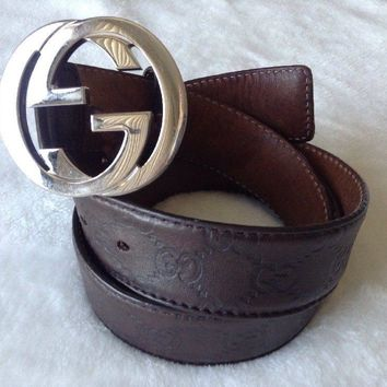 Mens Gucci Belt - Brown Leather Interlocked Stamped Gs Locked G Silver Buckle