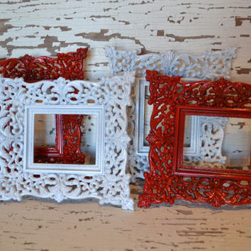 Ornate Frames lot of 4 plastic red white home decor wall hangings valentines day decor