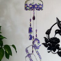 Recycled Knob Creek bottle wind chime, Yard art, Purple flowers, Patio decor, Square bottle wind chime, Upcycled bottle, sun catcher