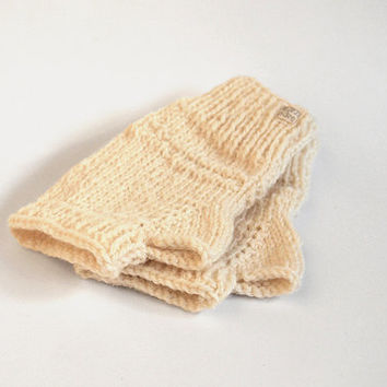 one of a kind knit fingerless mittens -- the condyle pure wool wristwarmers in ecru white