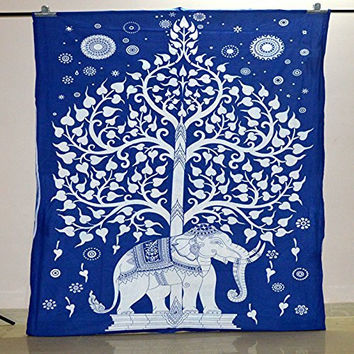 Hippie Dorm Tapestries Tree Of Life Elephant Wall Hanging Tapestry Bohemian Wall Tapestry Bedding Beach Blanket (55 X 85 Inches) (139 X 215 cm)