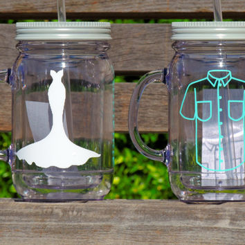 bride and groom cups, acrylic mason mugs, plastic mason jar, mr and mrs cups, wedding party favor, destination wedding favor, bridal party