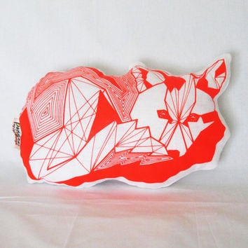 Florescent Orangle Geometric Screen Printed Linen Fox Pillow