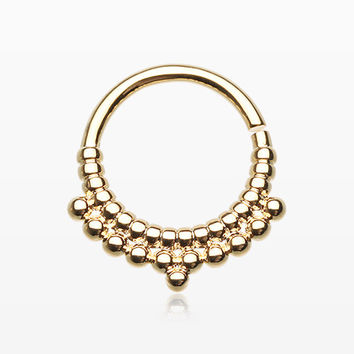 Golden Rhea Spherule Septum Twist Loop Ring