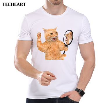 Men's Funny Cat and Lion In The Mirror Printed Designer T-Shirt Cool Summer Modal Animal Graphic Top Tees