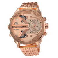 50mm Oulm Mens Watch- Metal Band in Rose Gold