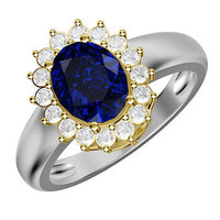 2.12 BLUE OVAL CUT SHAPPHIRE SOLITAIRE 925 STERLING SILVER RING FOR HER
