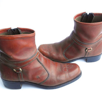Vintage Pimp Daddy Leather Ankle Boots Mens Size 9 Beatle Boots Terra Cotta Rust Brown // Southwestern // Side Zipper // Stacked Heel