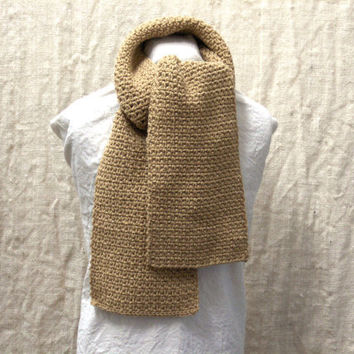 Crochet Scarf Tan for man or woman