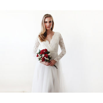Ivory Tulle and Lace Long Sleeve Wedding Gown
