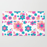 Teal Blue, Hot Pink, and Coral Floral Rug by Decampstudios