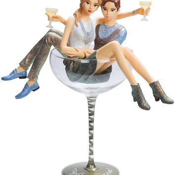 Together forever! Lesbian Couple Figurine & Champagne Glass