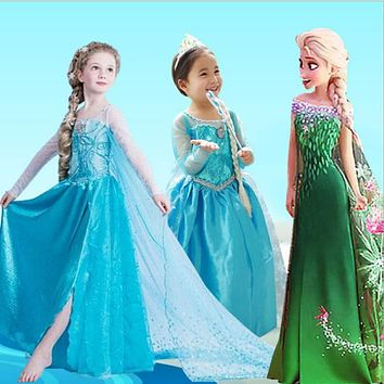Summer Dress For Girls Cartton disfraz Anna Elsa elza Dress Kids Dresses princess Girl disfraces rapunzel Costume clothes