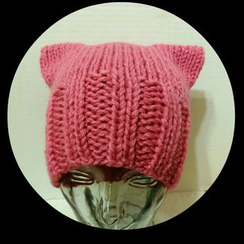 Pink Hat, Pink Cat Ear Hat, Pussy Cat Hat, Chunky Knit Cat Hat, Pink Cat Beanie, Girls Pink Hat, Womens Pink Hat, Ready to Ship