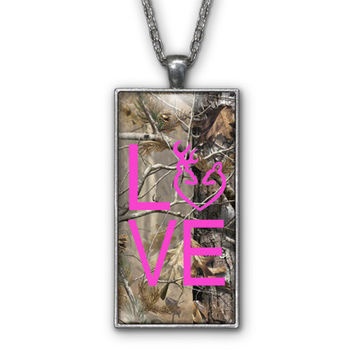 Hot Pink Camo Love Browning Pendant Necklace Jewelry