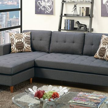 2 pc Leta collection blue grey polyfiber fabric upholstered apartment size sectional sofa with reversible chaise