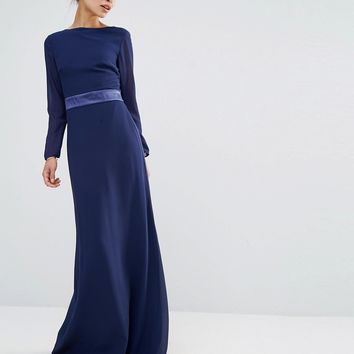 Tfnc Petite Wedding Bow Back Maxi Dress With Long Sleeves at asos.com