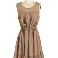 ModCloth Boho Sleeveless A-line Clover and Over Dress in Tan