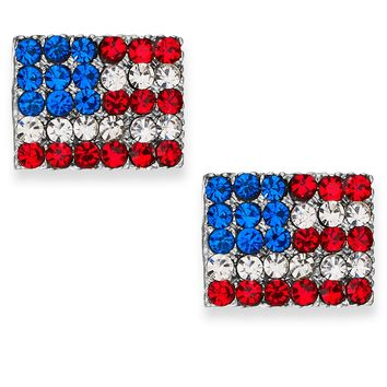 Ali Khan Silver-Tone Crystal Pave Flag Stud Earrings