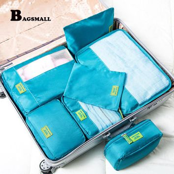 BAGSMALL 7pcs/Set Packing Cubes Waterproof Nylon Packing Organizer for Travel Luggage Suitcase With Travel Makeup Cosmetic Bag