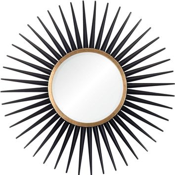 Quick Overview:Ebony & Gold Leaf Starburst Mirror