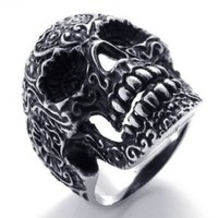 KONOV Jewelry Gothic Stainless Steel Skull Biker Men's Ring, Size 8