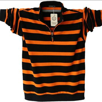 Men's Long Sleeved Polo Shirt Plus Size Striped Stand Collar Cotton POLO Shirts Casual